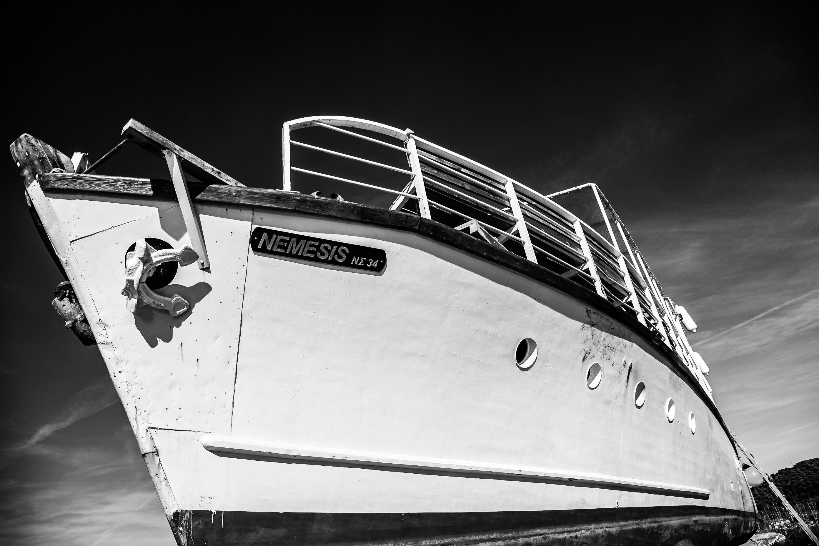 Nemesis ship on grayscale photography