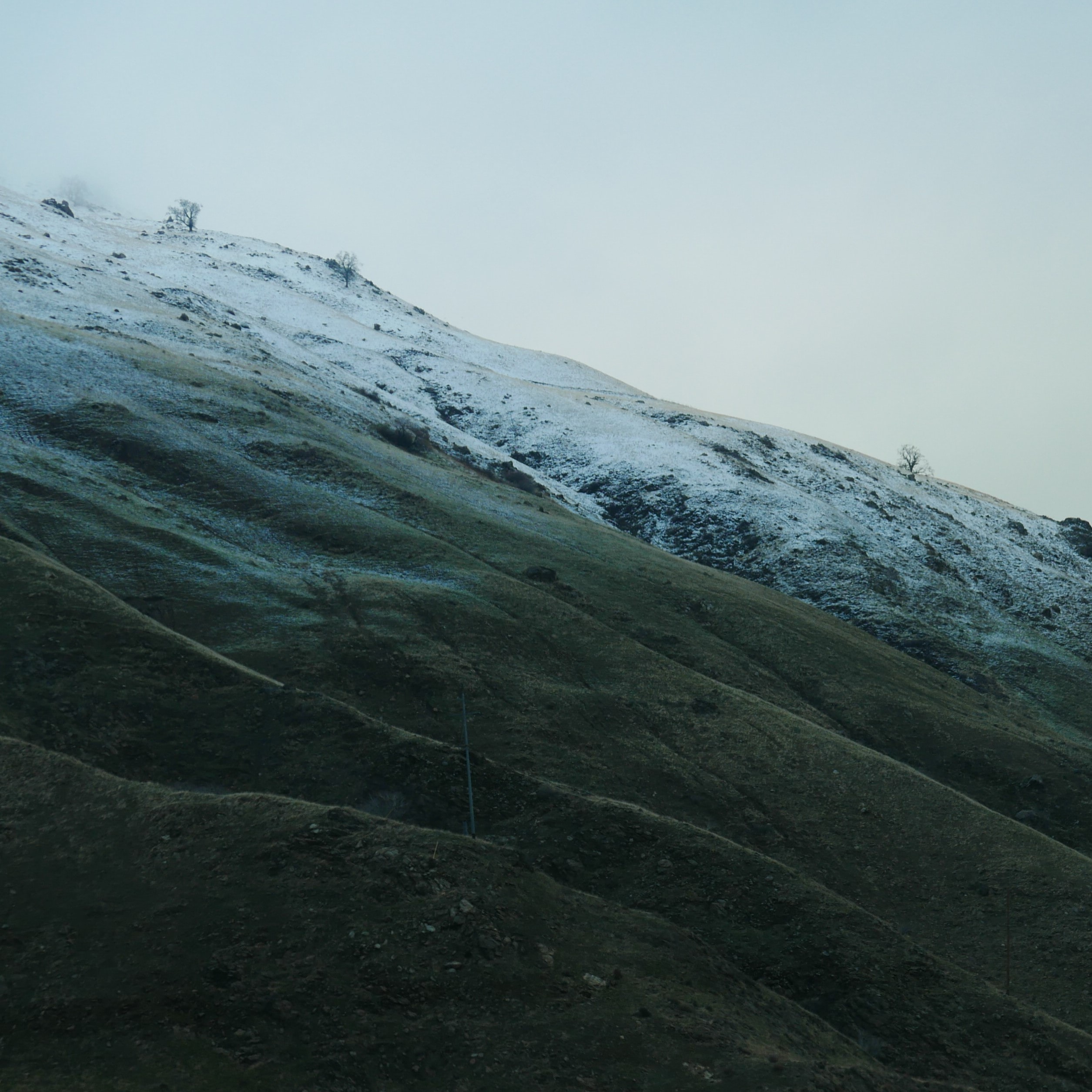 gray and white mountain with snow field