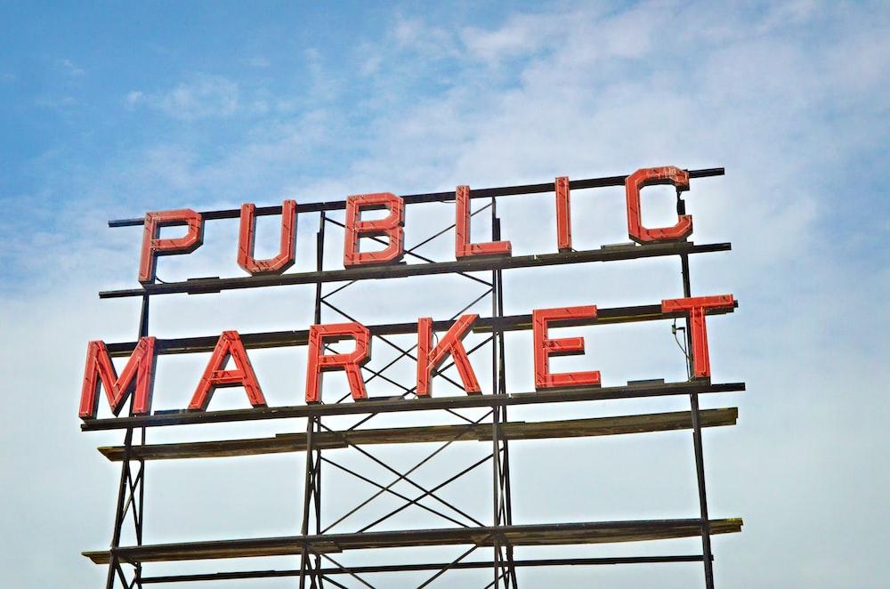 photo of red and black Public Market signage