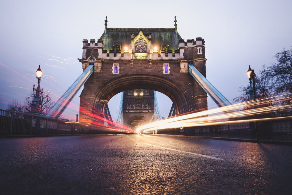 timelapse photography of city road at bridge