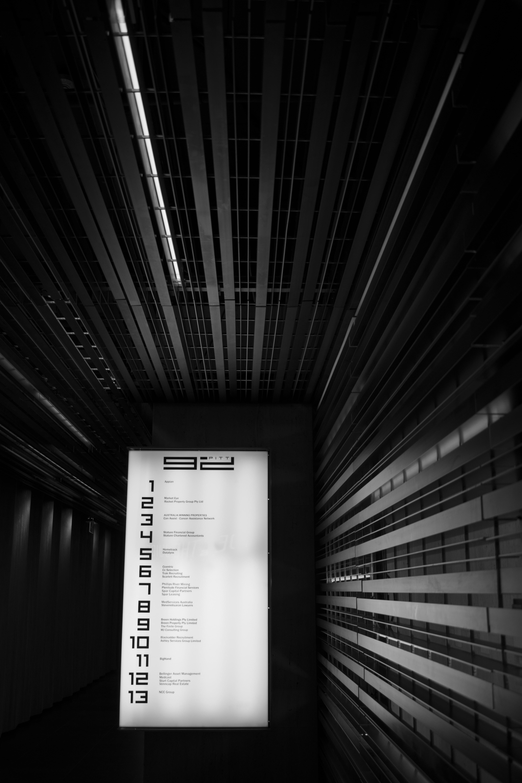 grayscale elevator
