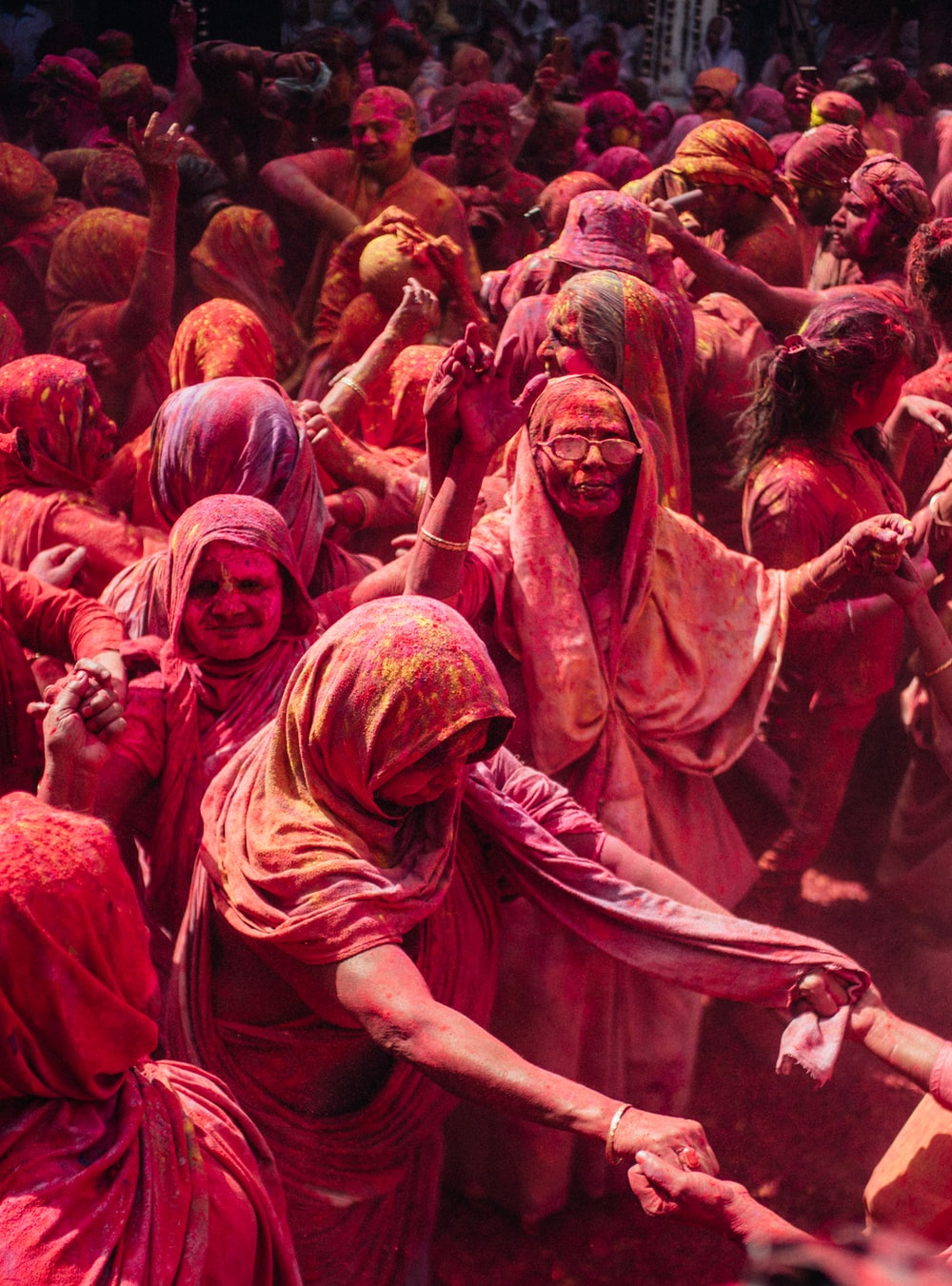 group of person gather for Holi