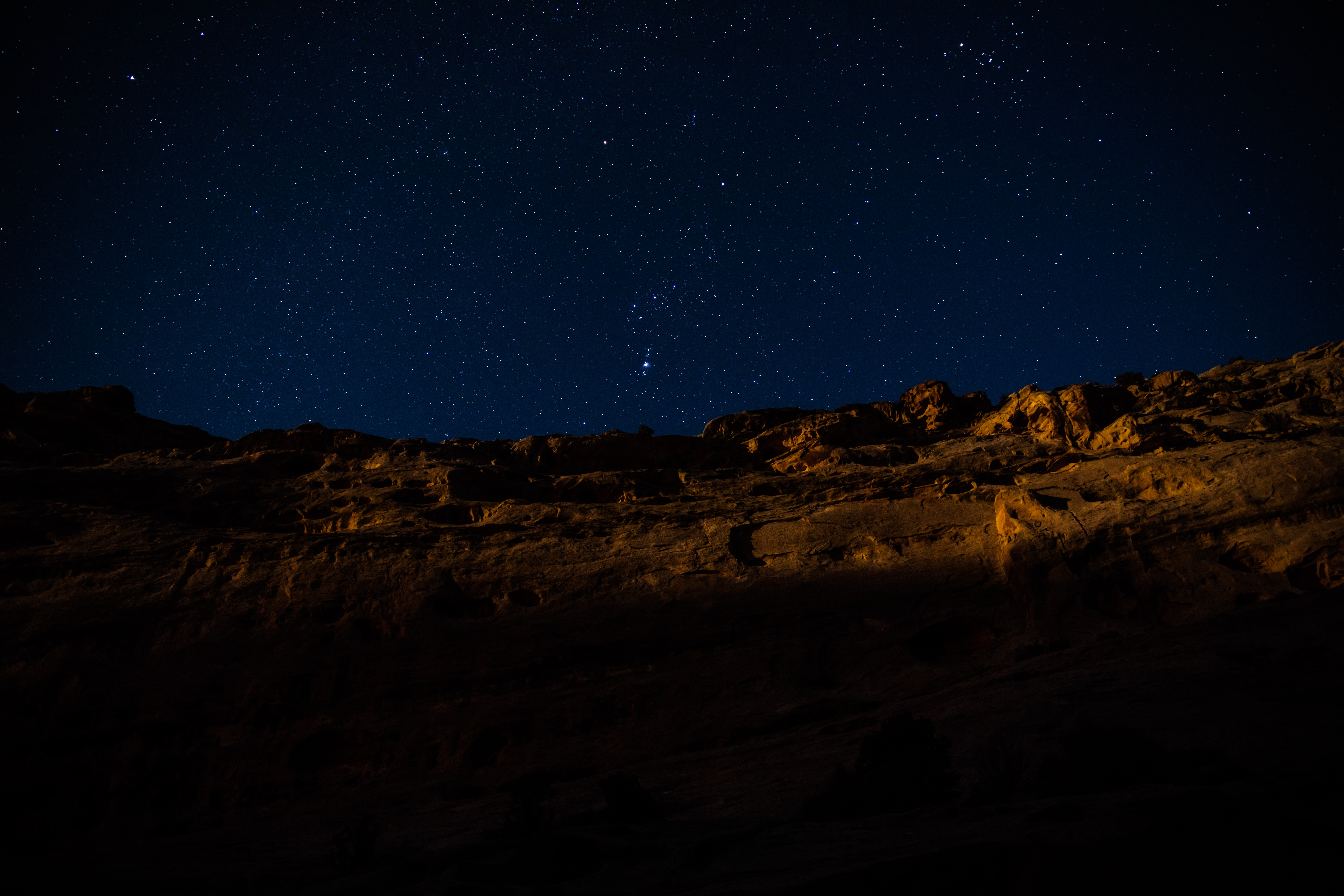 landscape photography of hill during nighttime