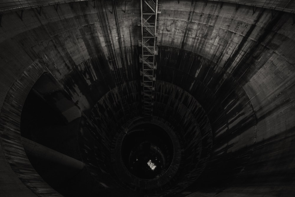top view of tunnel with stairs