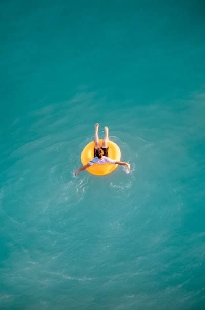 A boy floating in the sea