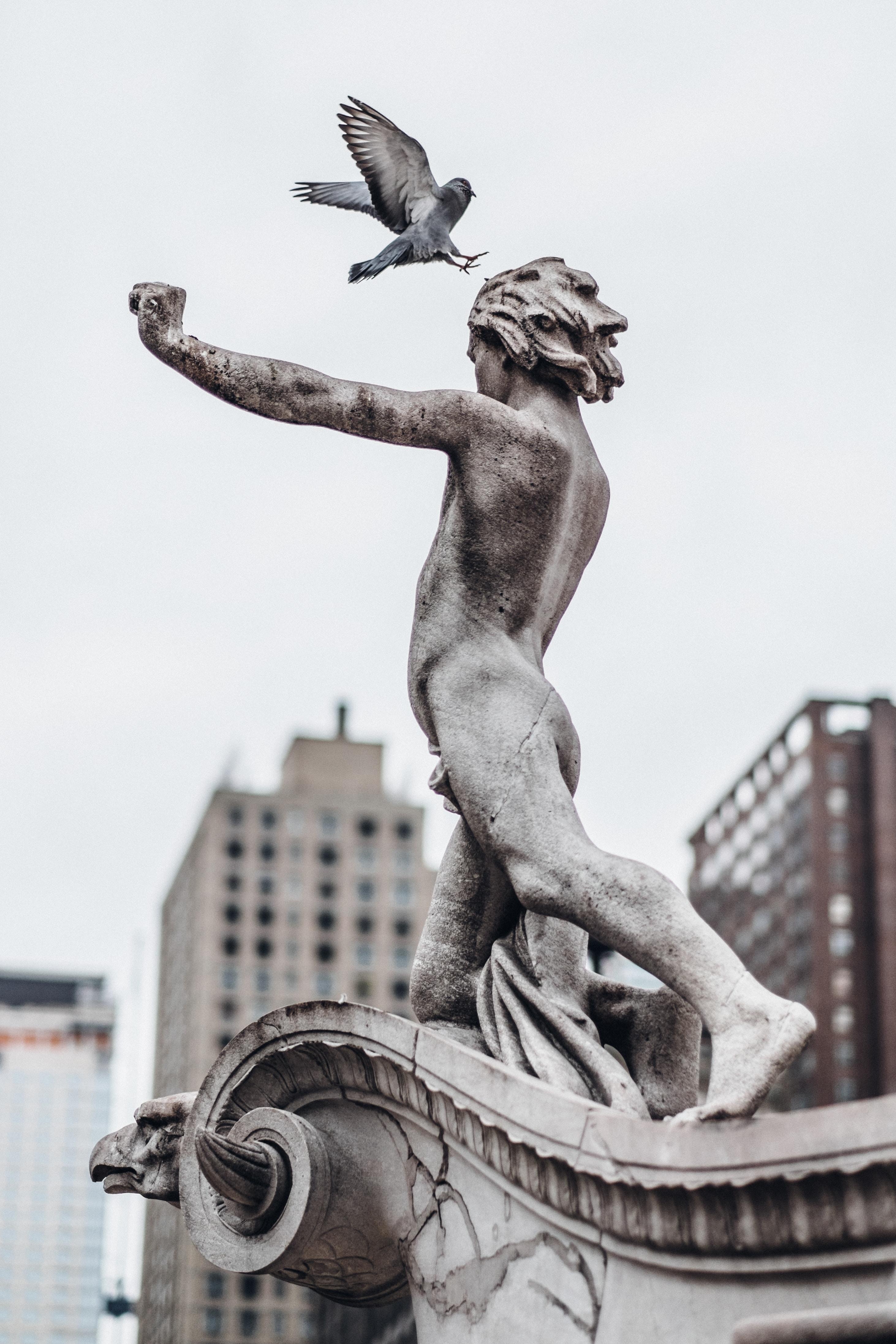 man and bird concrete statue