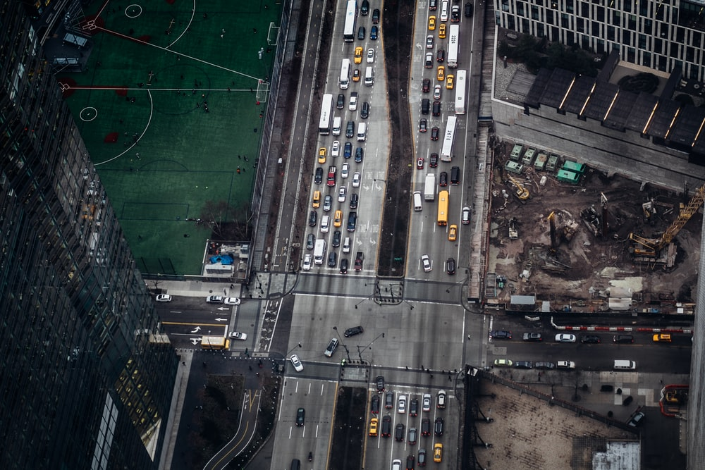 top view of cars on road