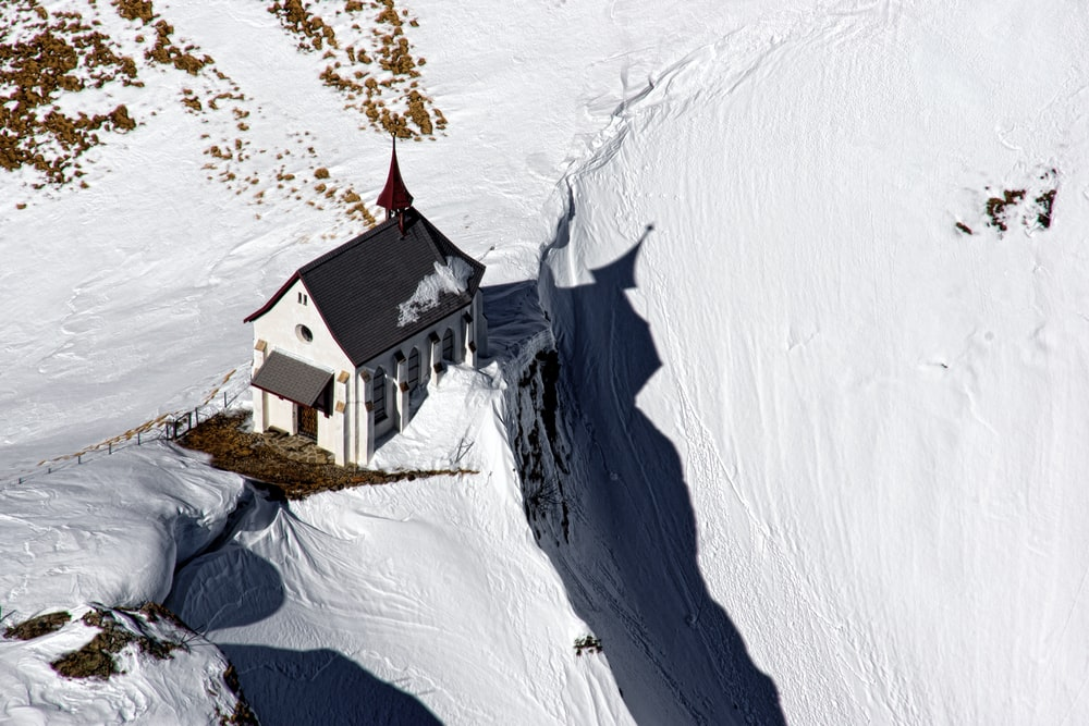 bird's-eye view photography of house in the hill