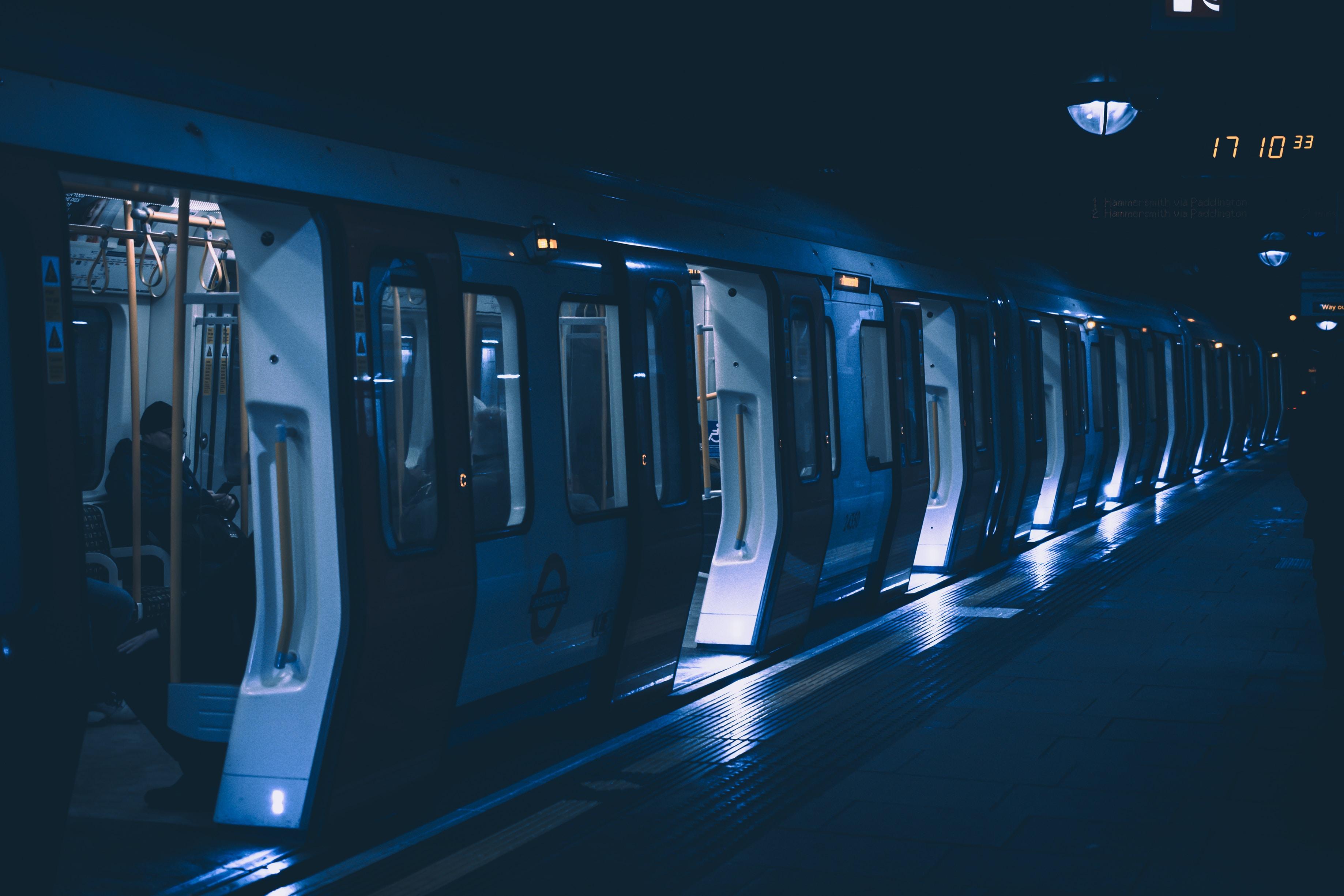 lighted open door train