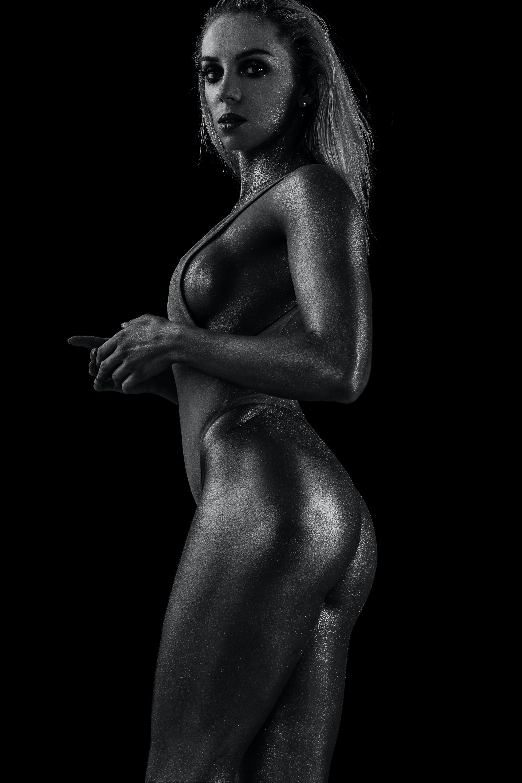 grayscape photography of woman wearing tankini