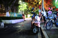 shallow focus photography of blue automatic motor scooter parked near tree
