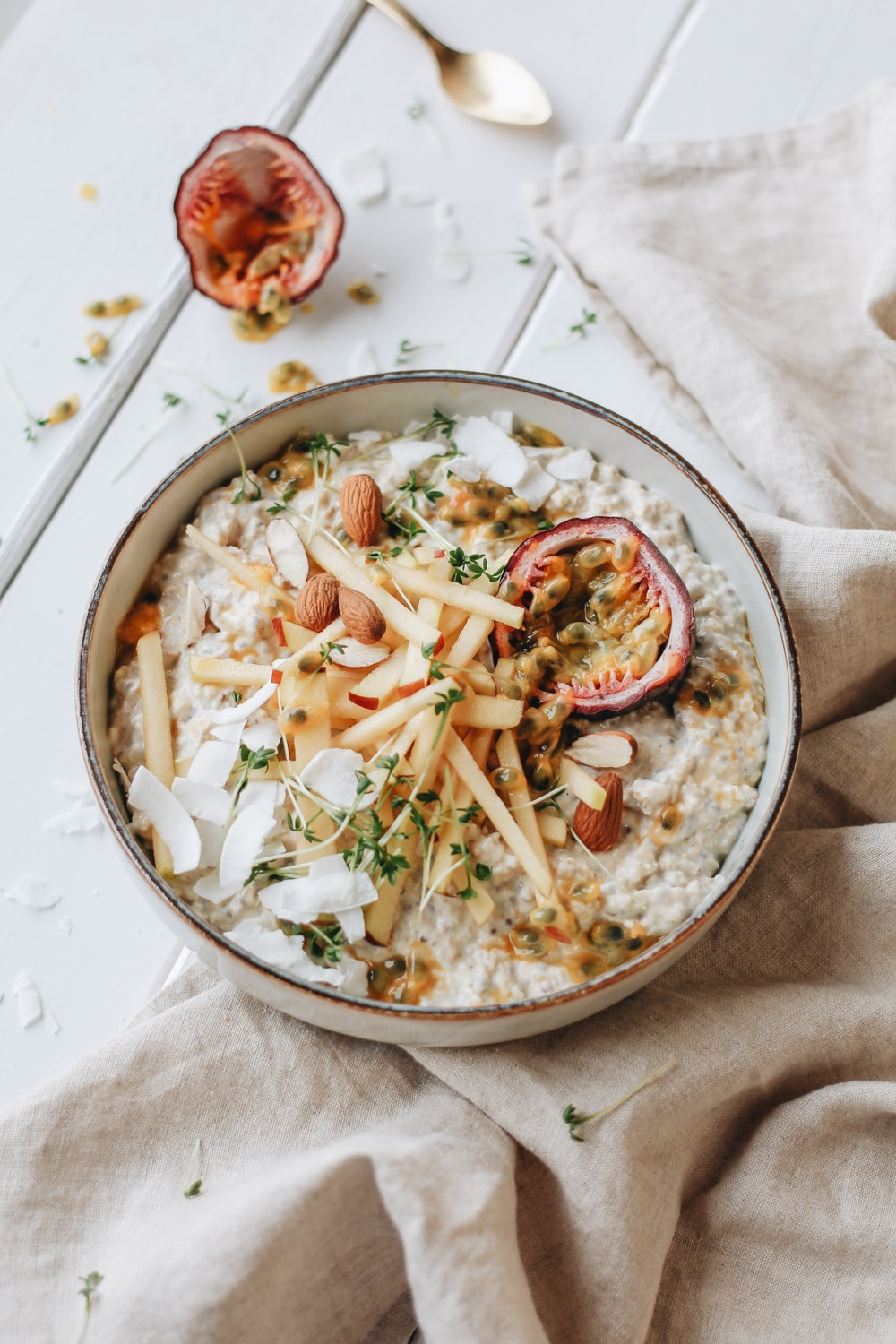 photo of bowl with cooked food on table