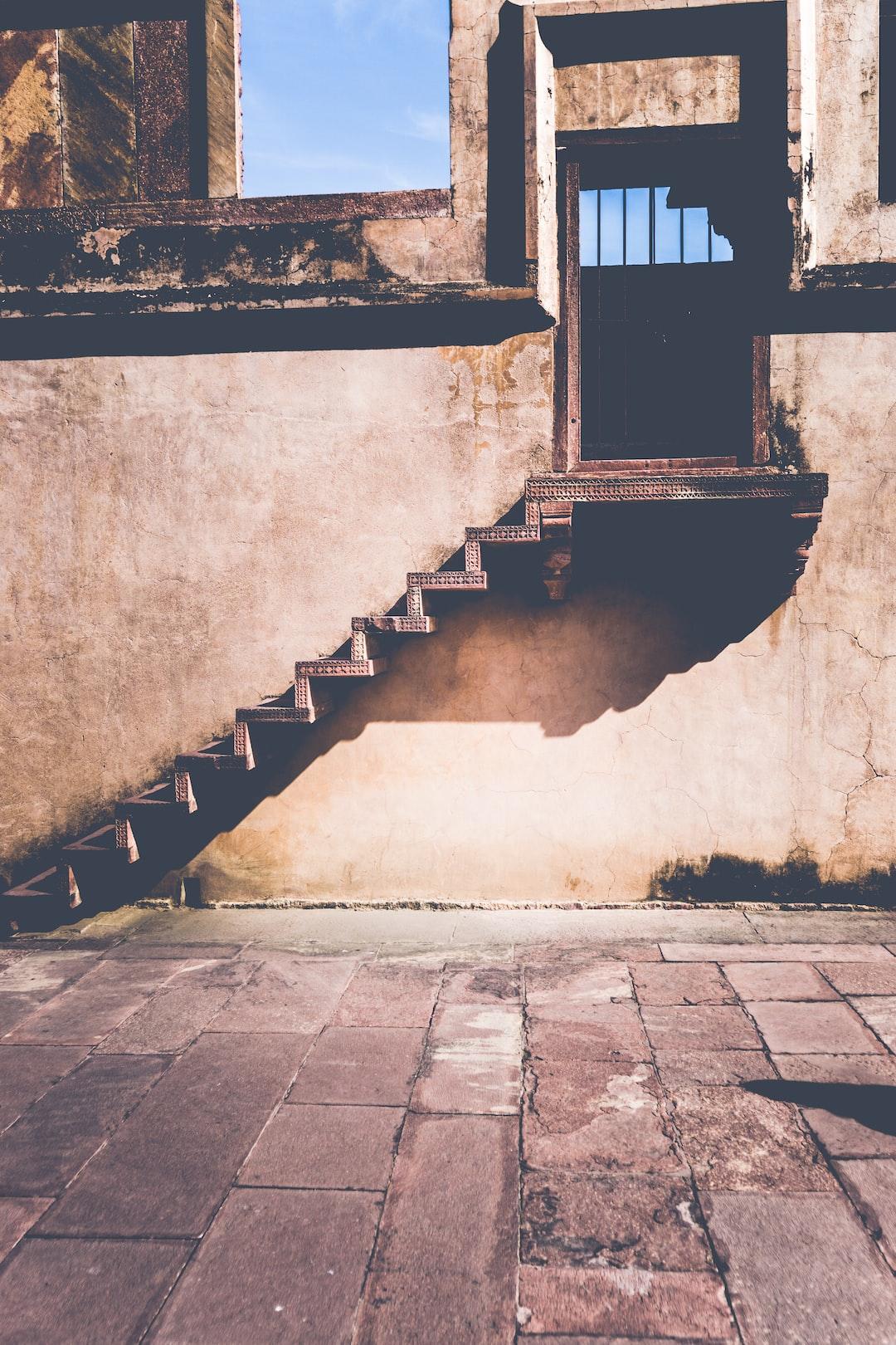 Steps at Fatehpur Sikri in  Uttar Pradesh, India