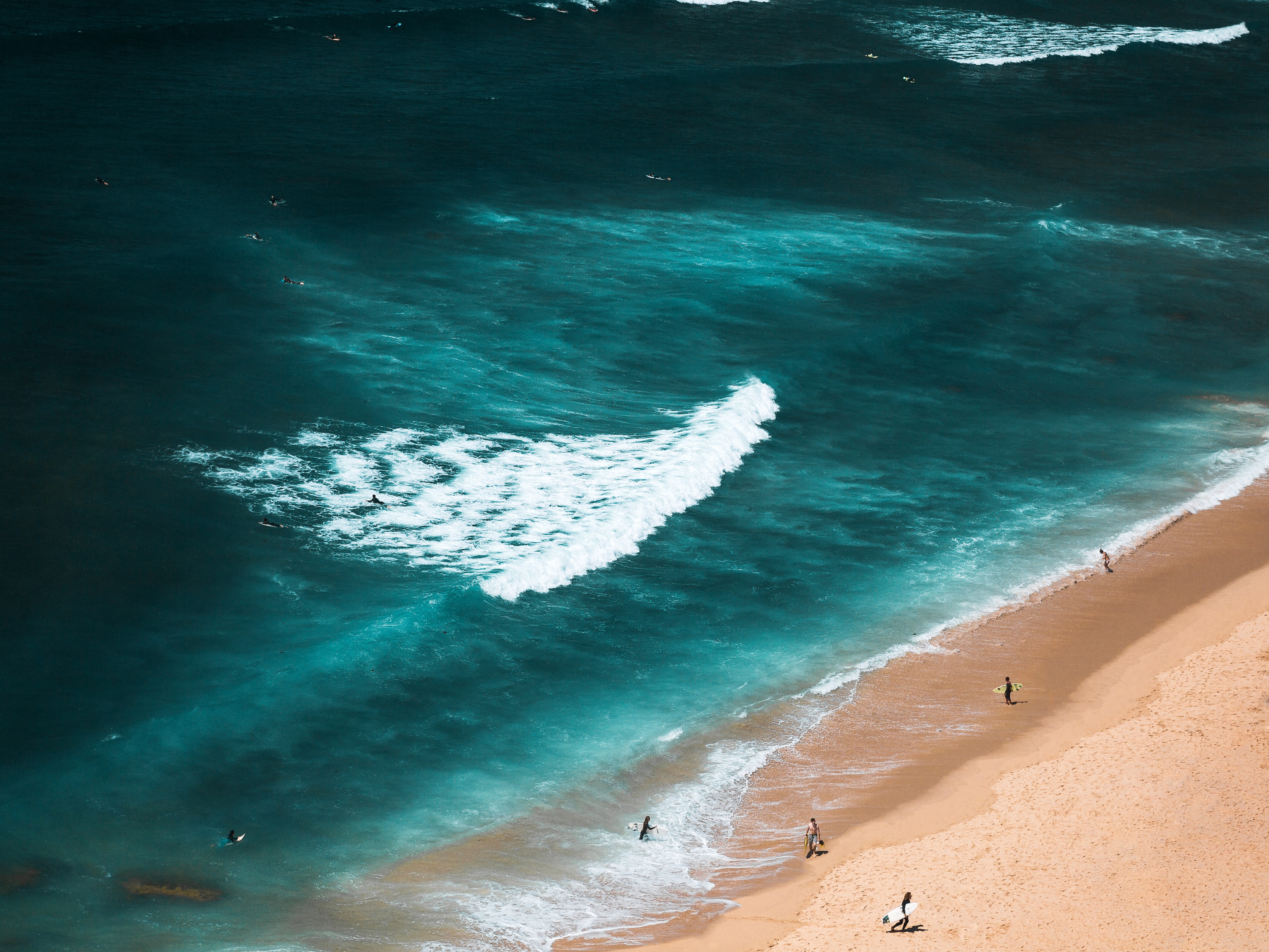 aerial photography ofpeople carrying surfboards on shore