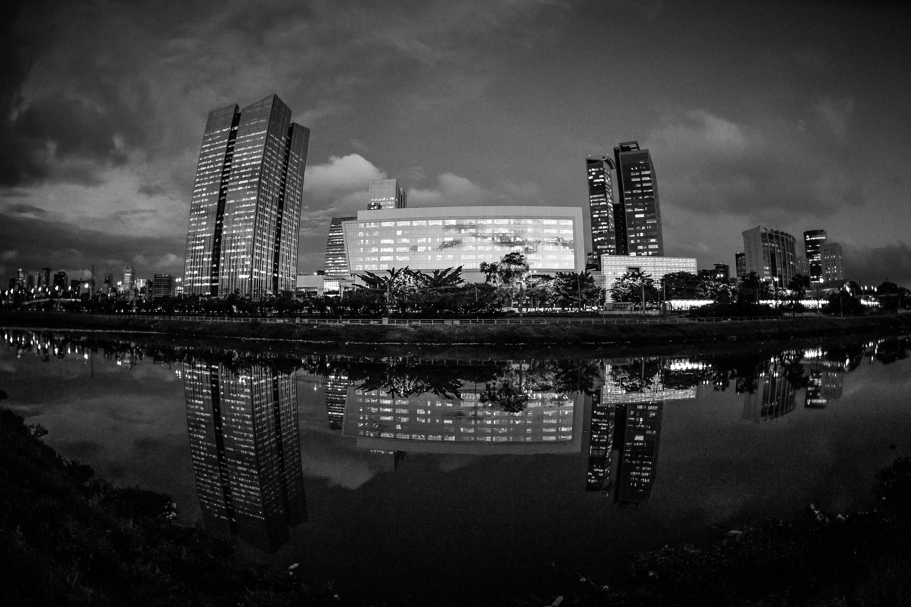 grayscale photo of buildings near body of water