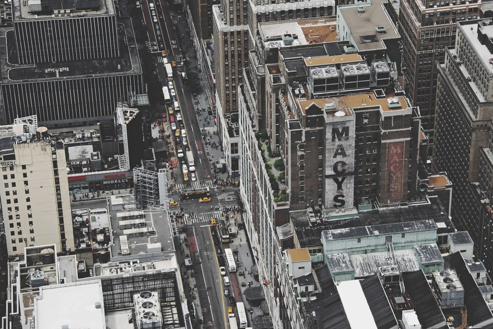 aerial photography of Macys building
