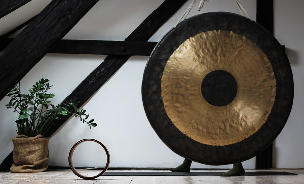 round black and brown gong beside potted green leafed palnt