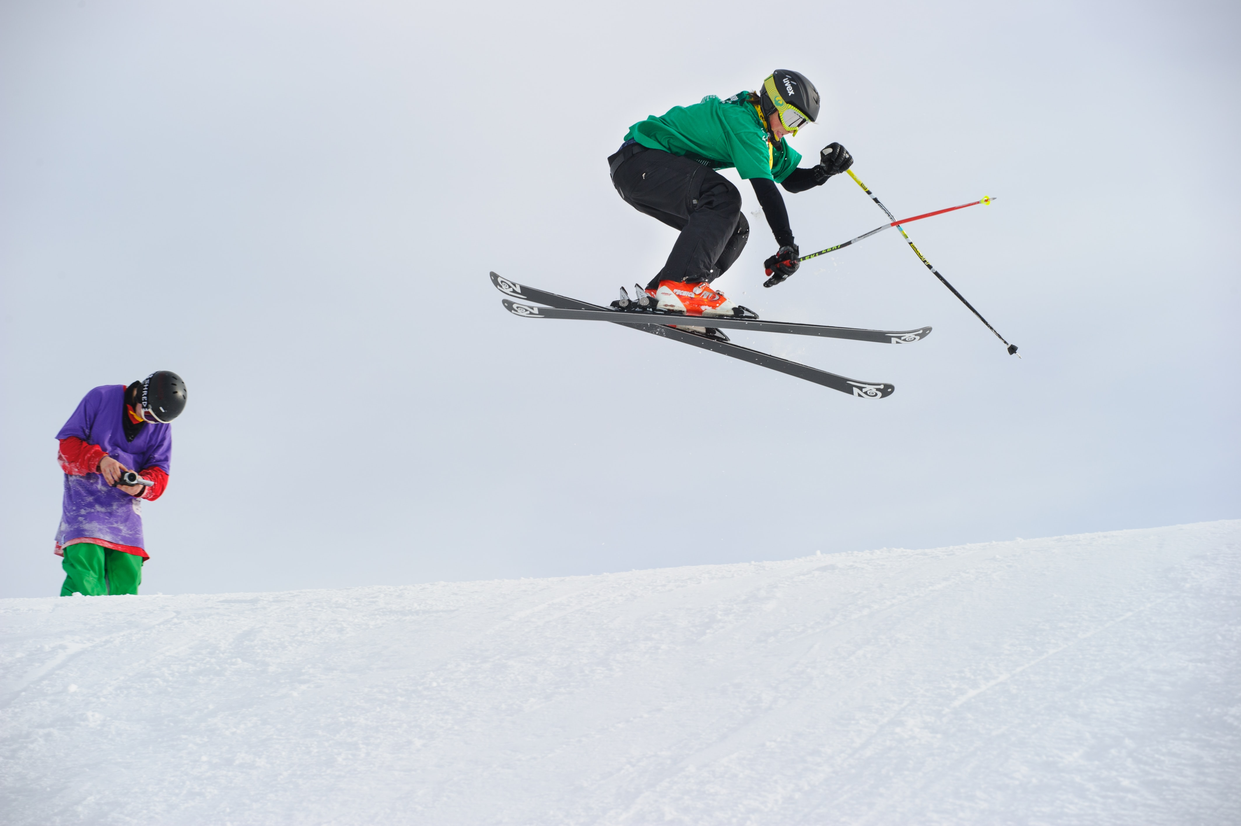 man riding snow skis