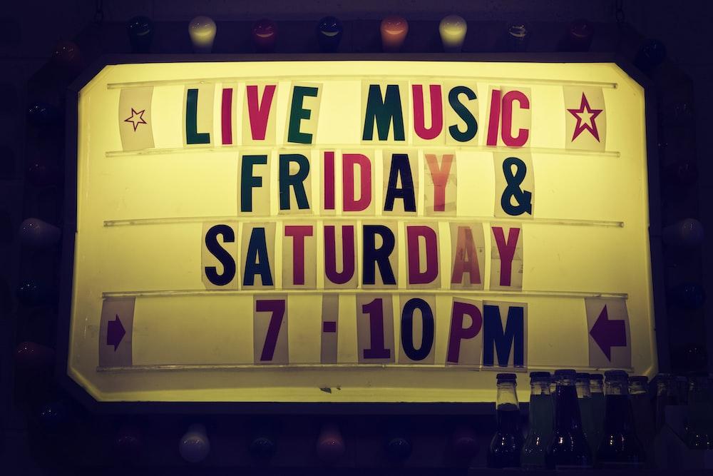 live music friday & saturday 7-10 pm