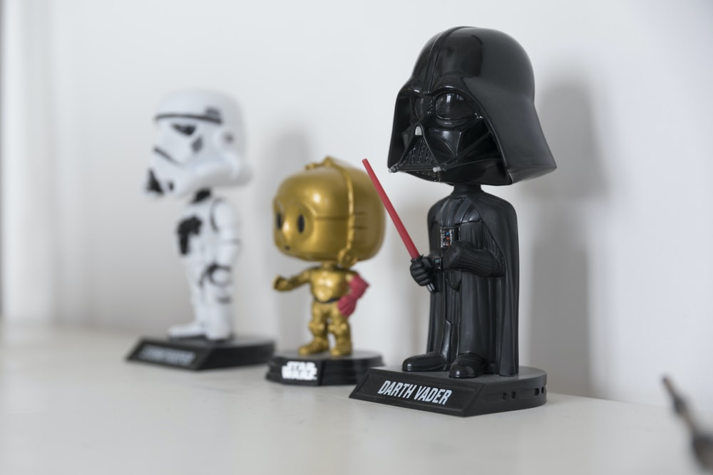 Star wars Darth Vader. Stormtrooper, and C-P30 bobbleheads beside each other