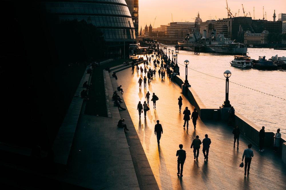 people walking on road near body of water