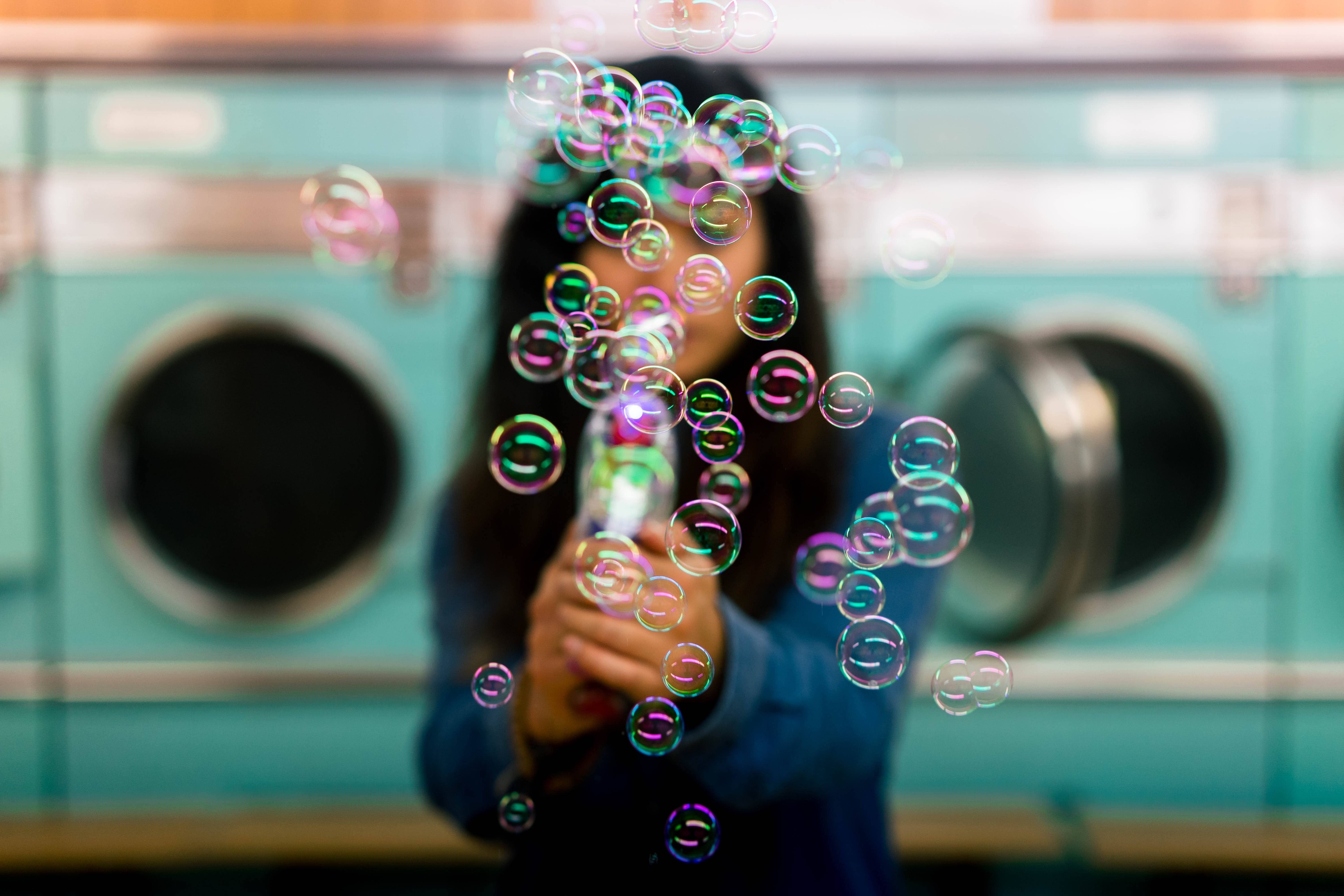 woman playing bubbles