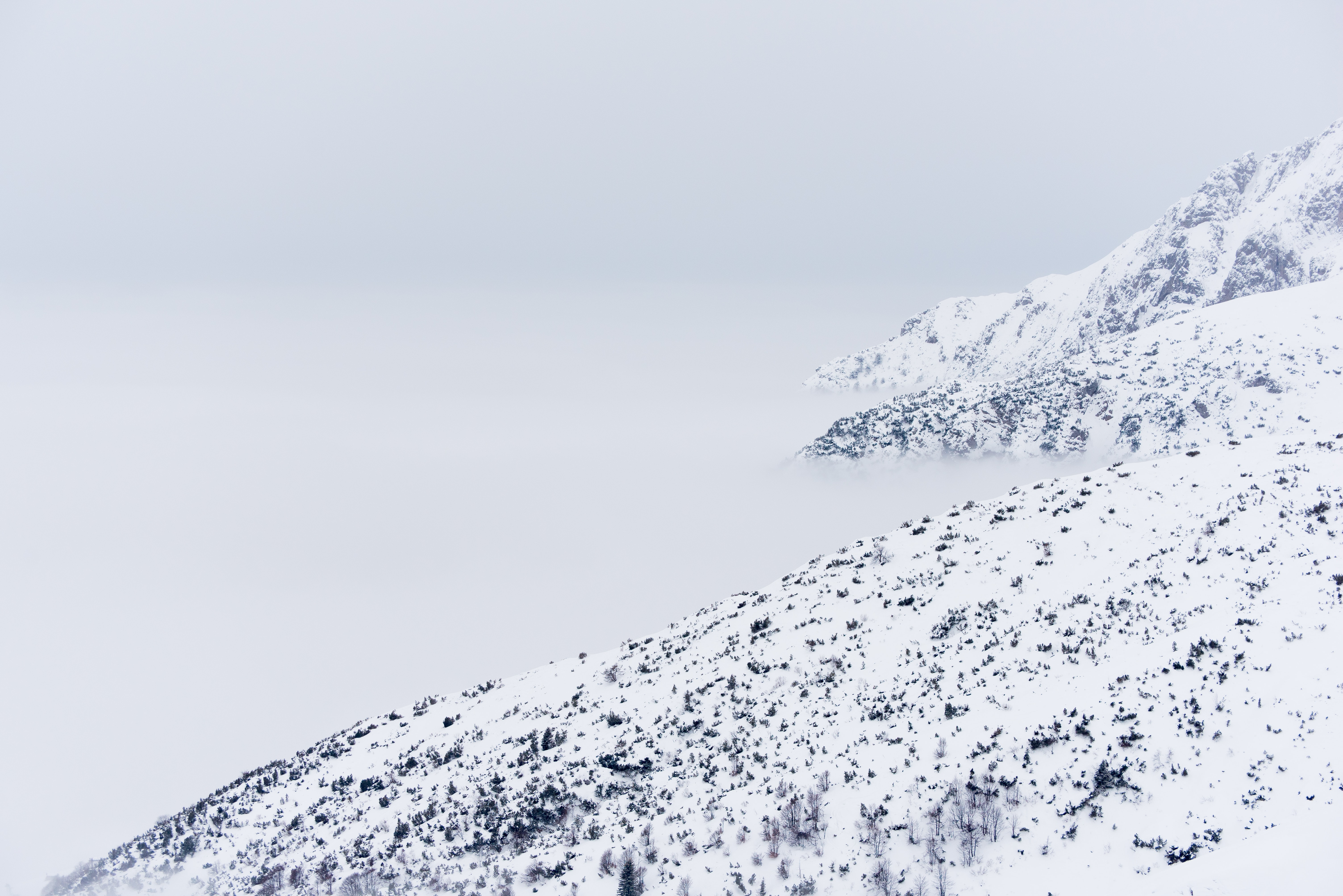 mountain hill covered with snow
