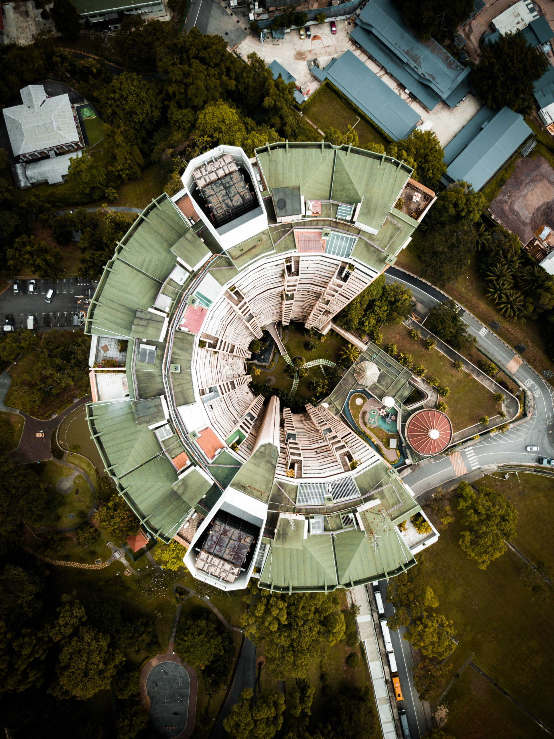 aerial photography of green building