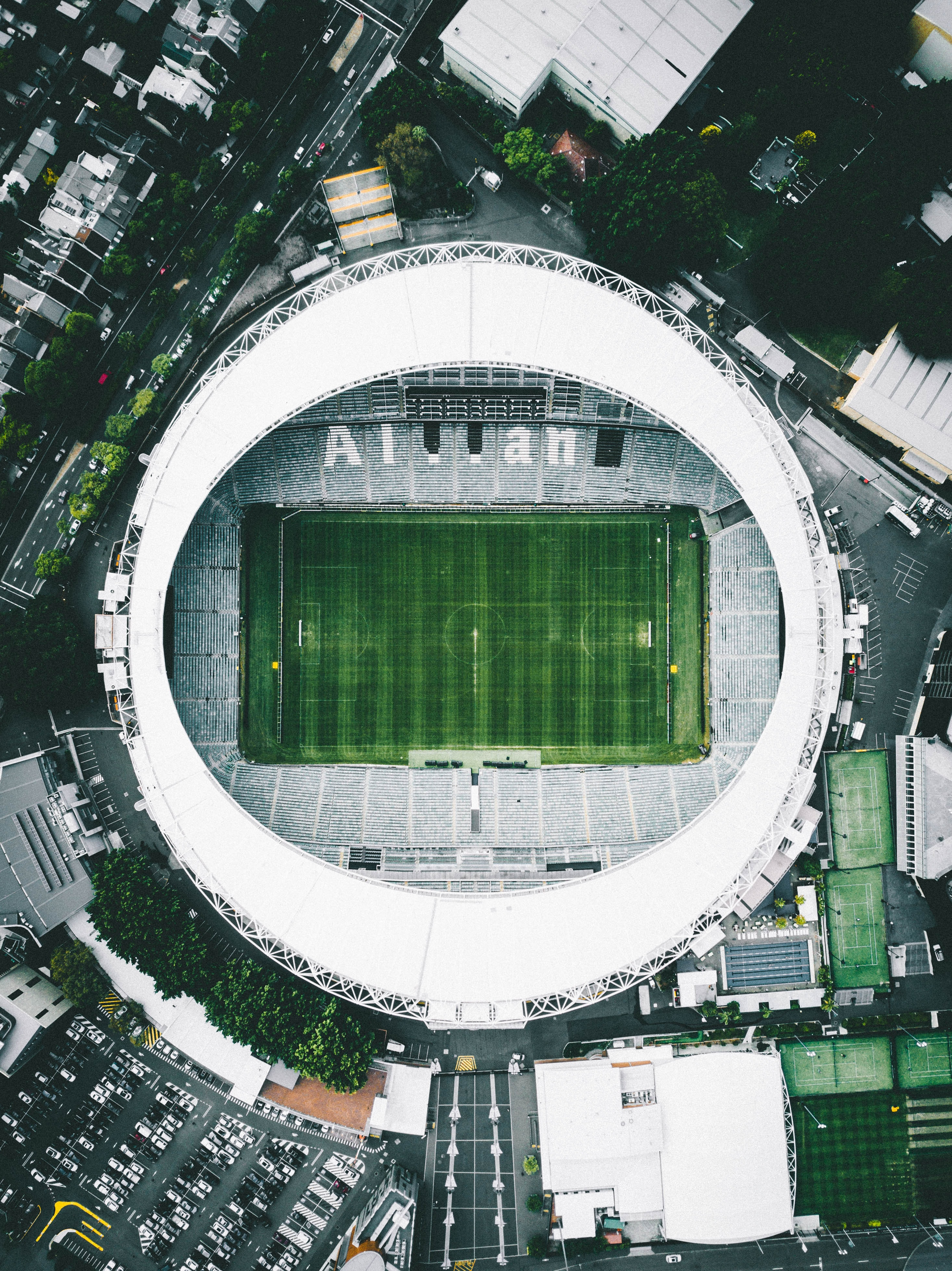 aerial view of green stadium