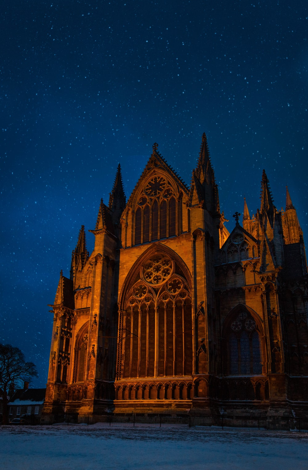brown concrete church at nighttime