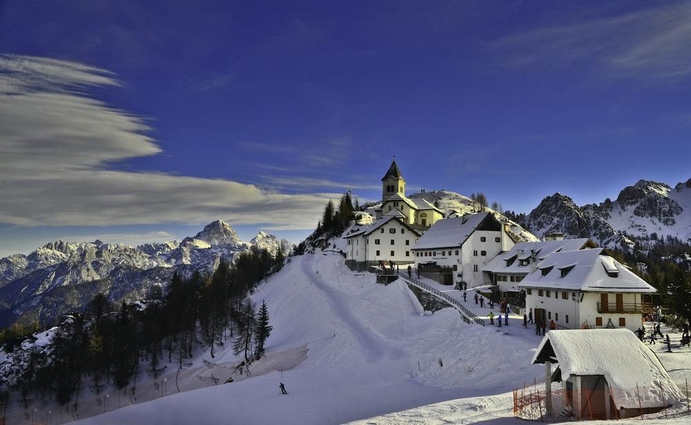 bird's eye view of village during winter
