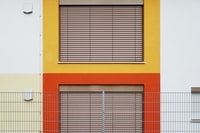 yellow, white, and red painted wall