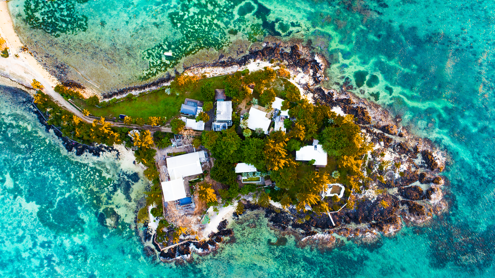 aerial photo of houses in island