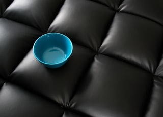 blue round plastic bowl on black leather couch