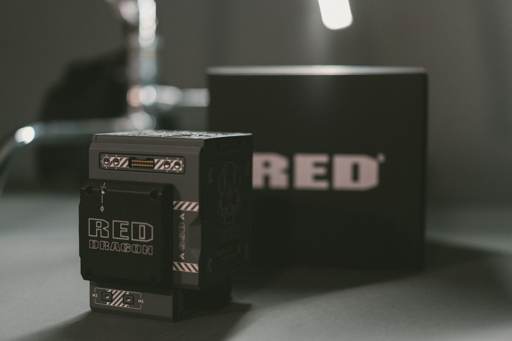 closeup photo of RED labeled box