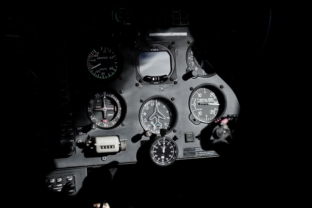 black and gray cockpit dashboard