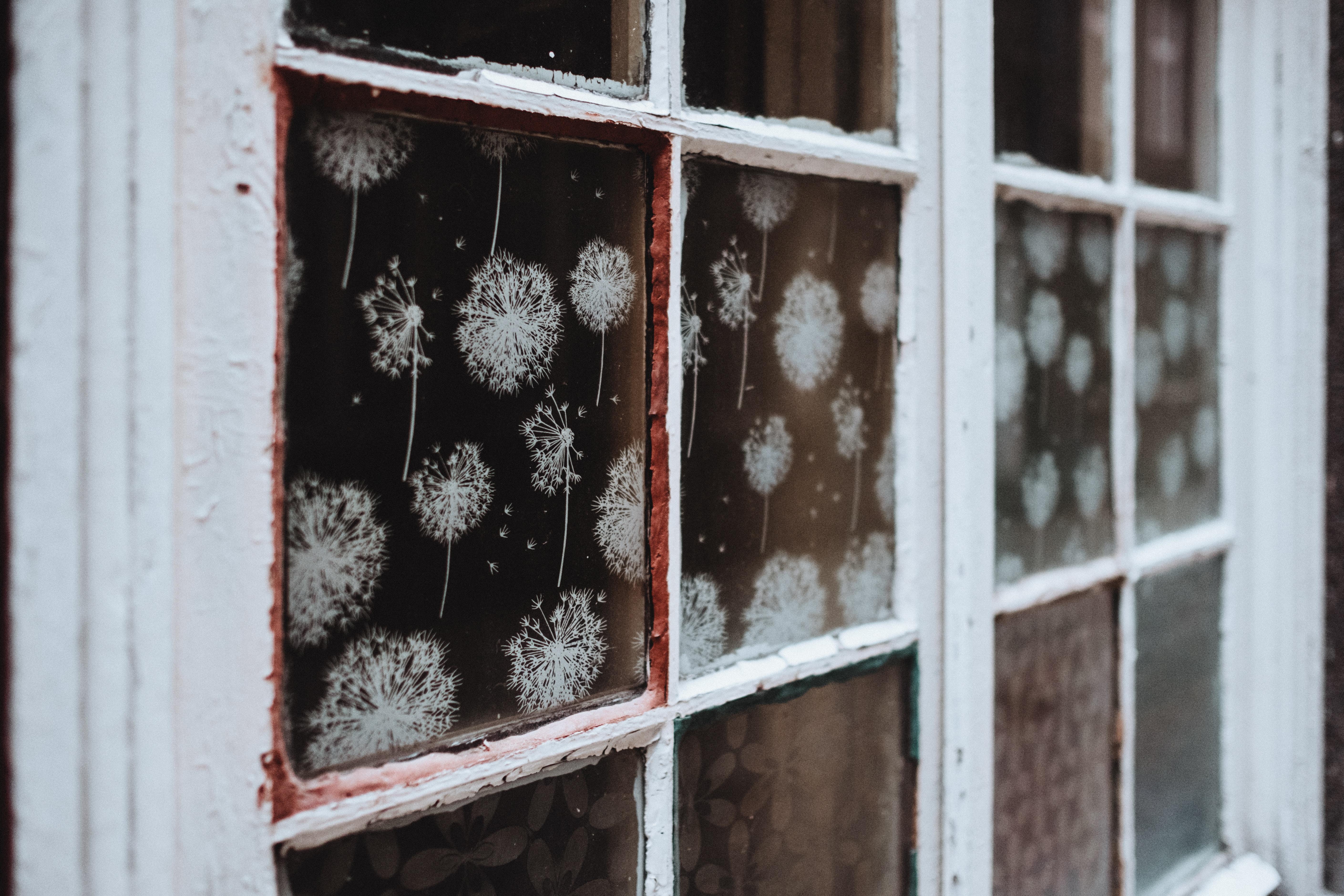 closed white framed glass-panel window