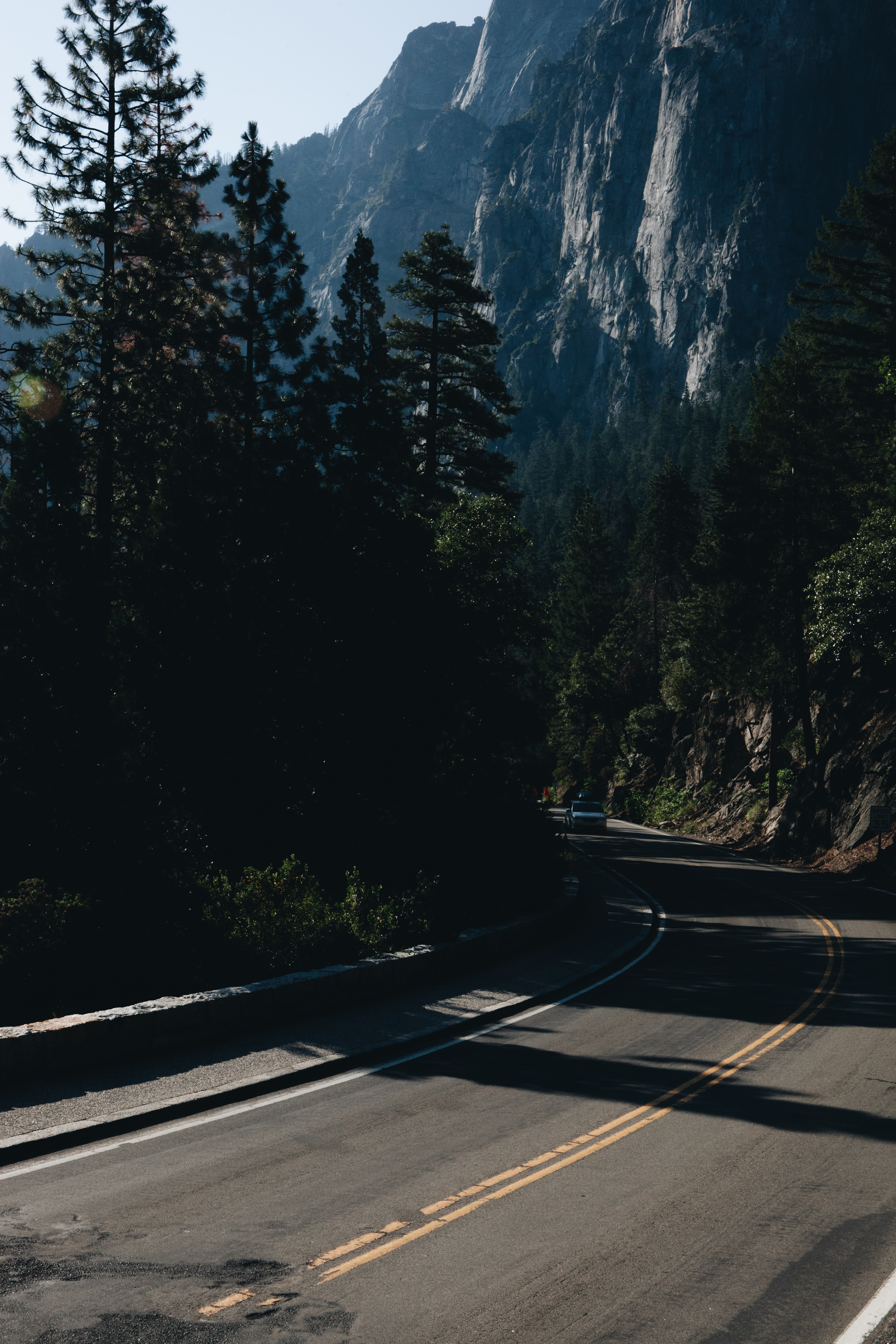 mountain pass with trees