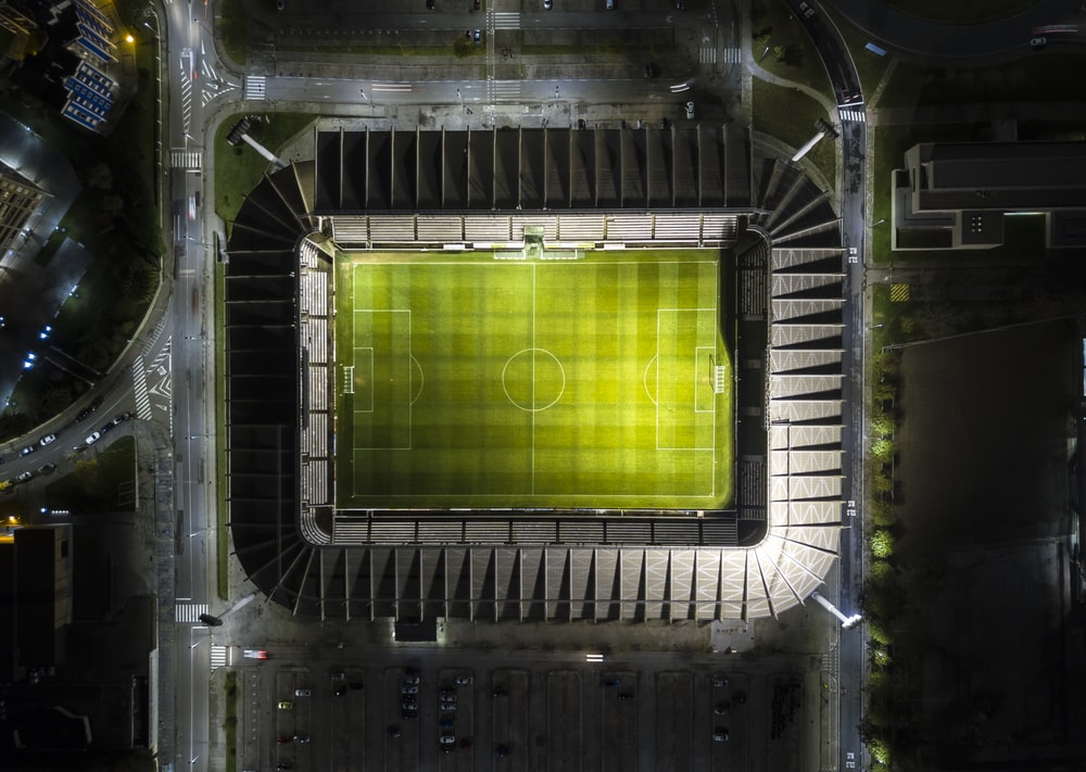 bird's-eye view photography of soccer arena