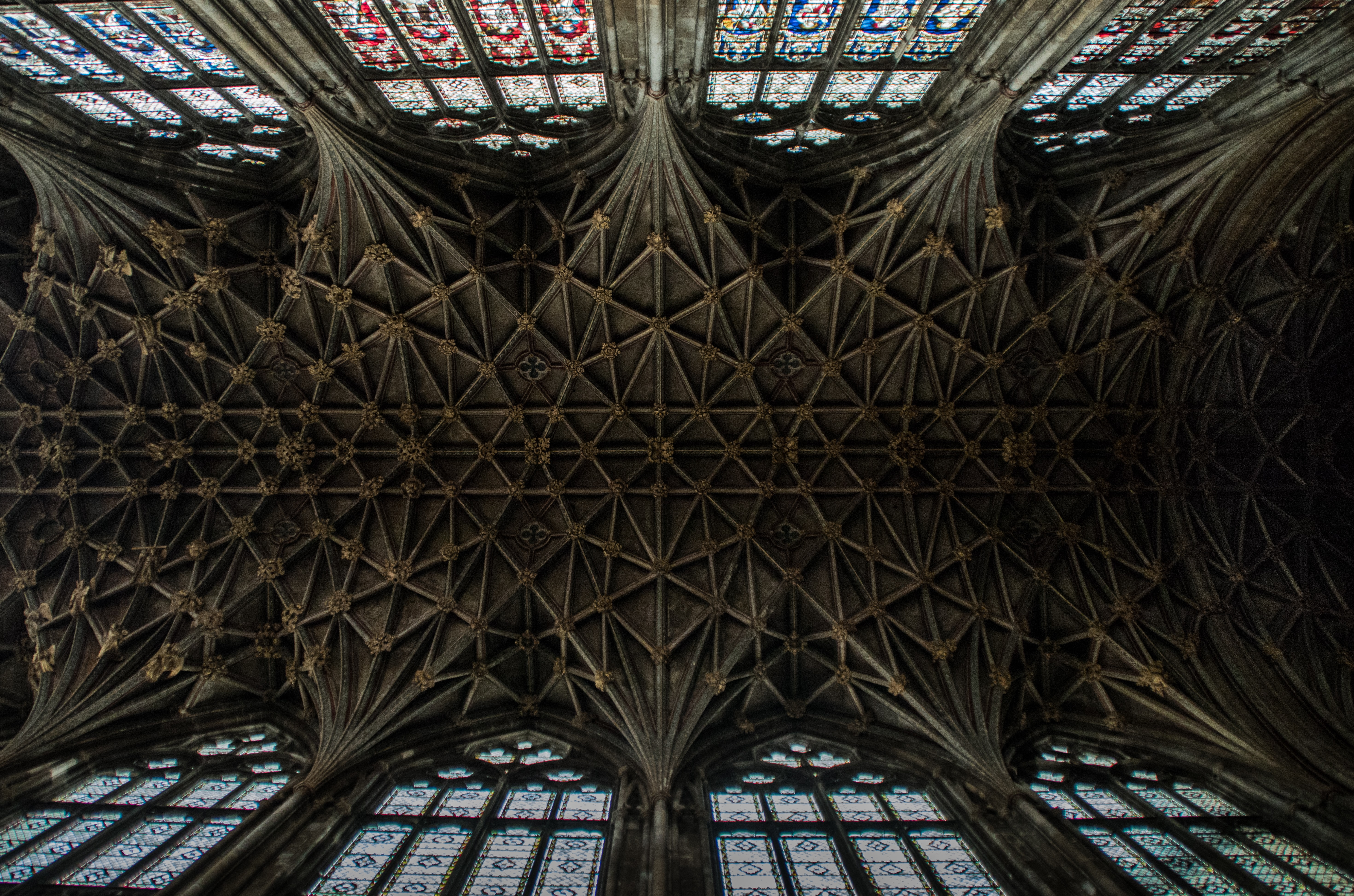 worm's-eye view of gray cathedral ceiling