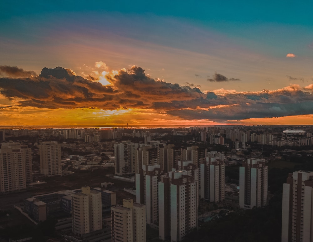 bird's eye-view photography of cityscape during golden hour