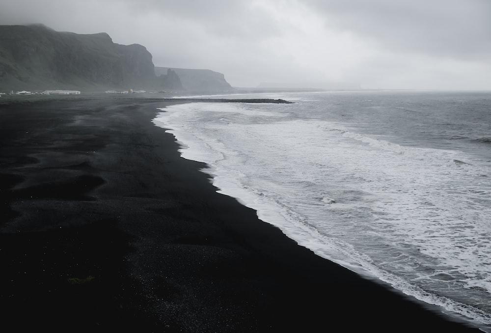 seashore in grayscale photo