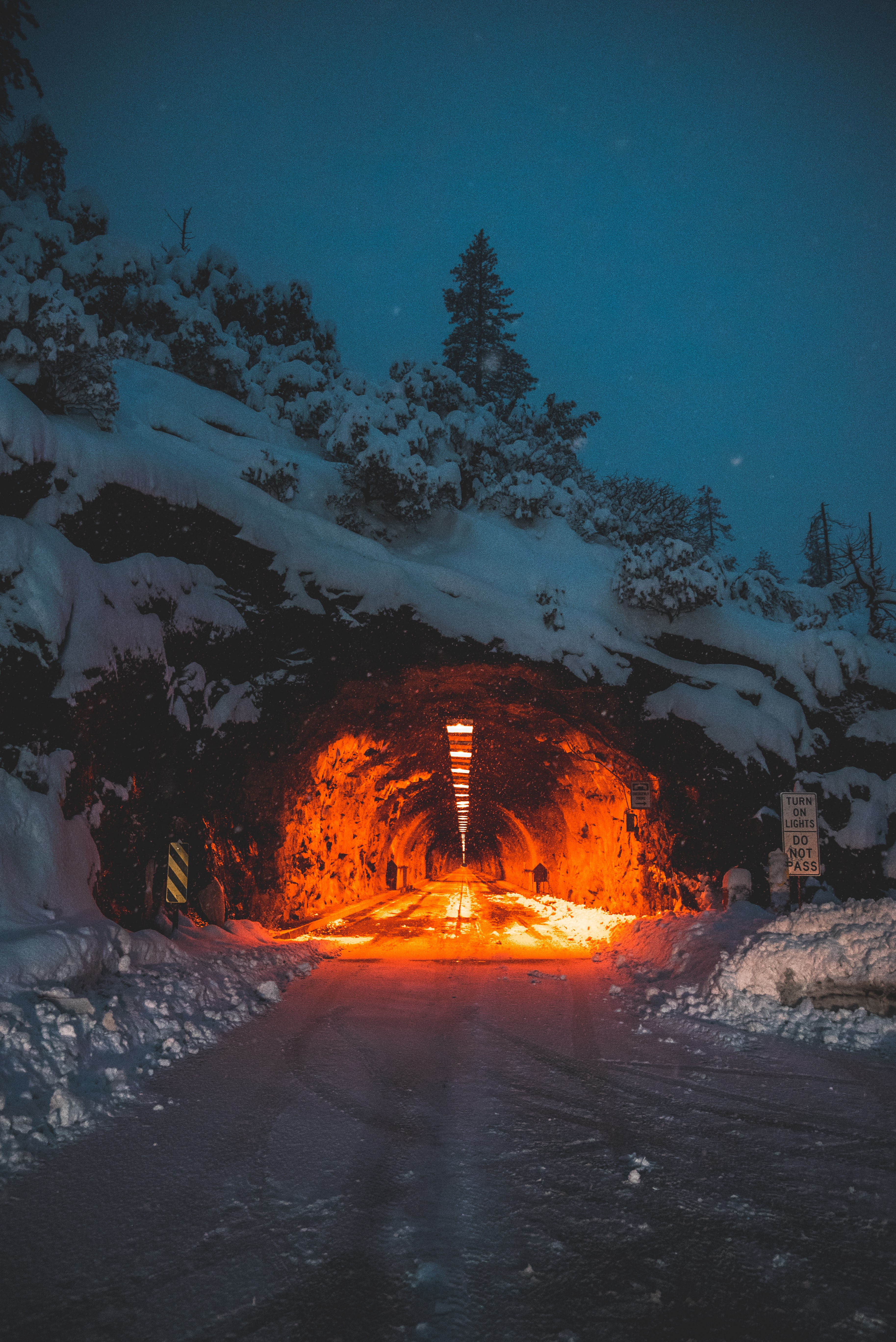 tunnel with red lights