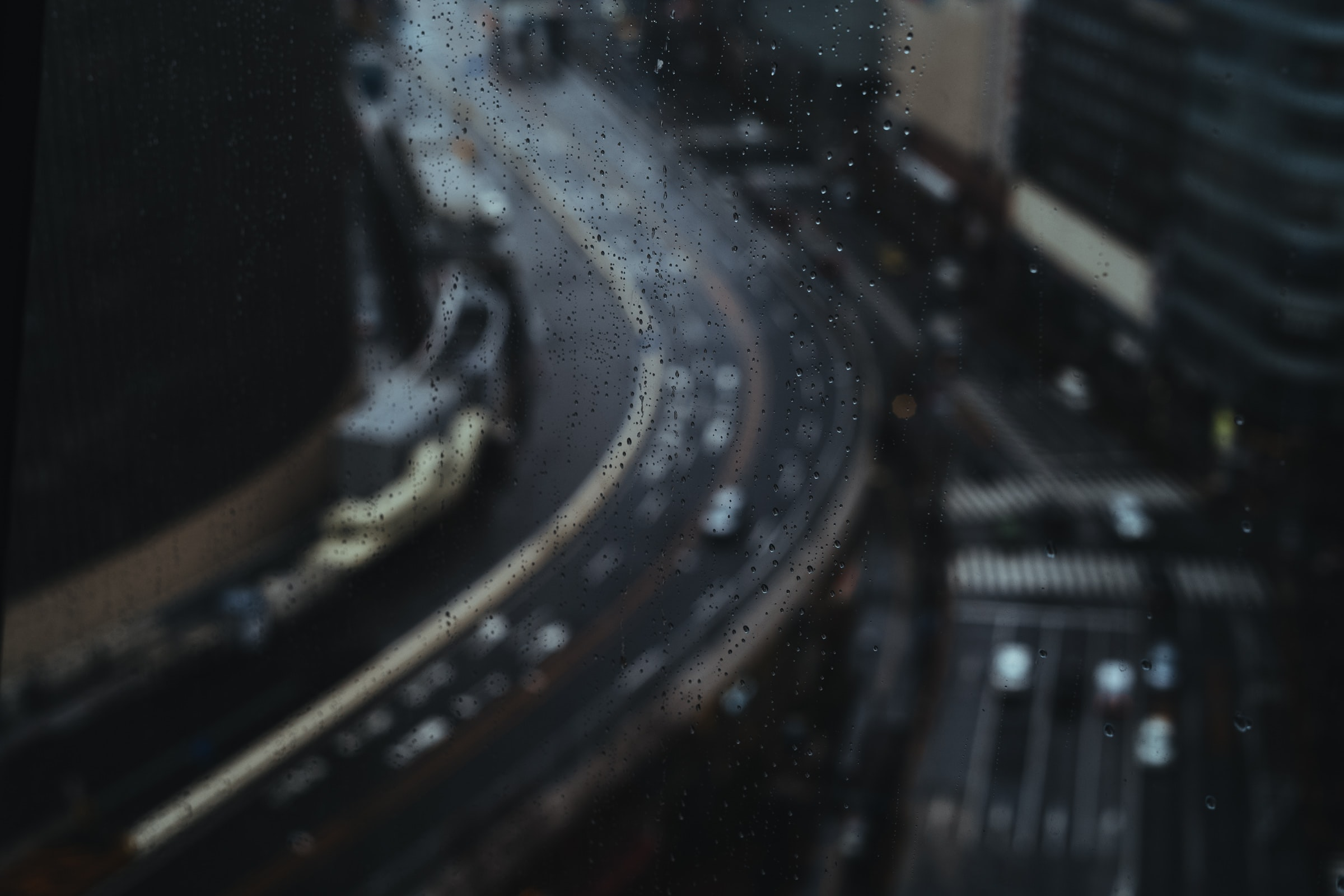 aerial photograph of a city road