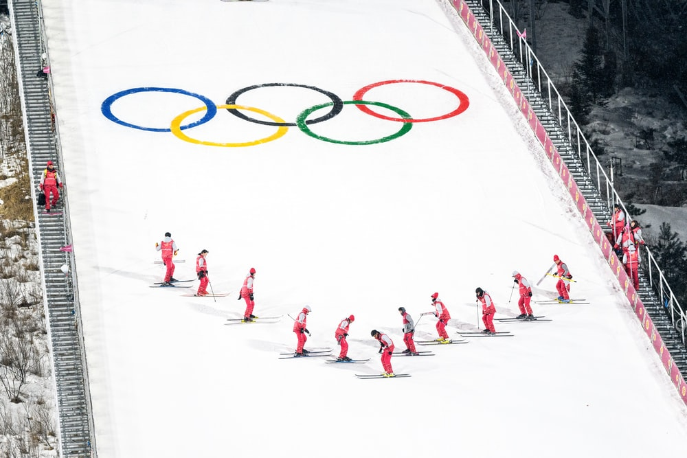 people skiing during Winter Olympics