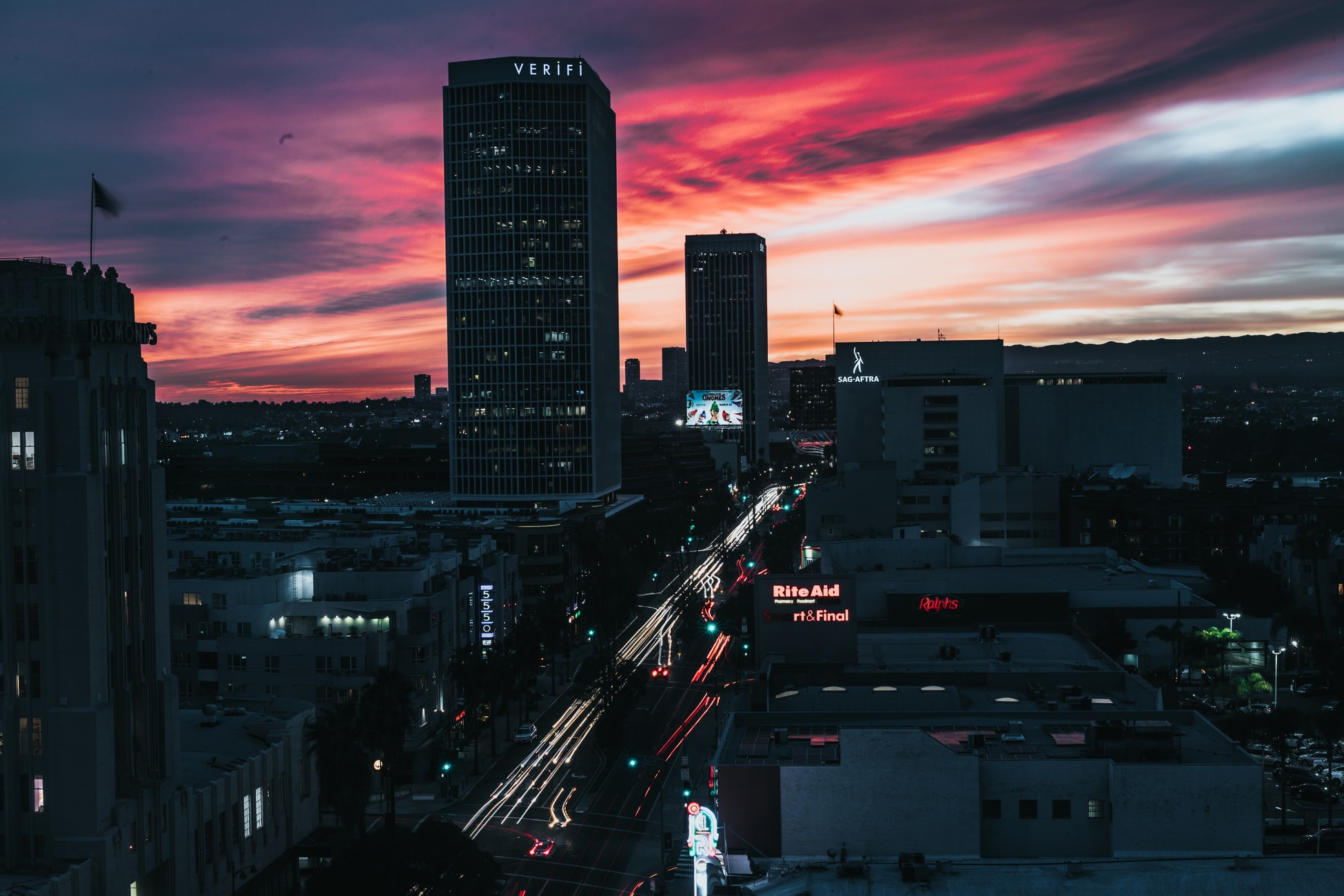 sunset over West Hollywood, CA