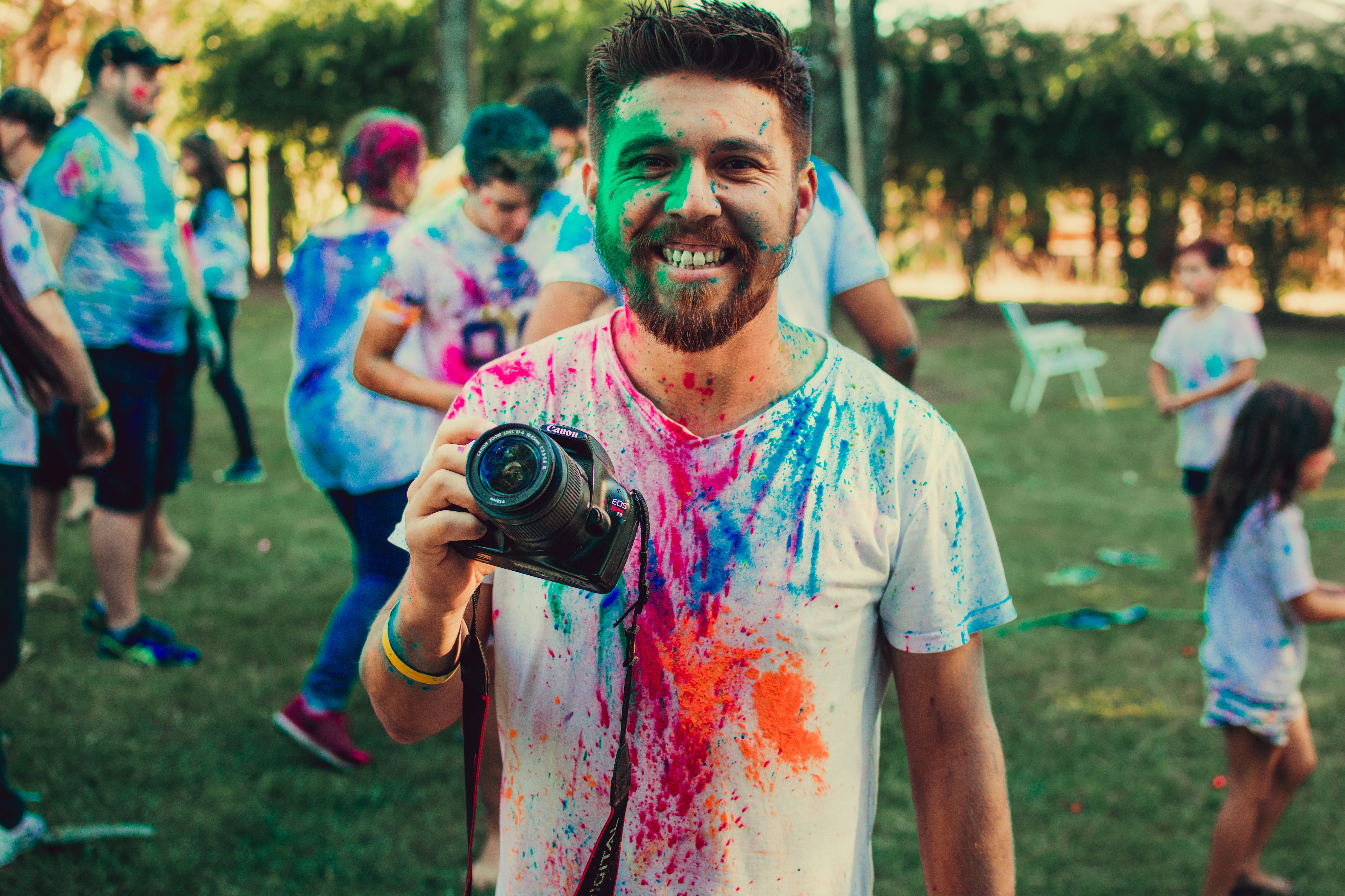 man holding DSLR camera with paint on face