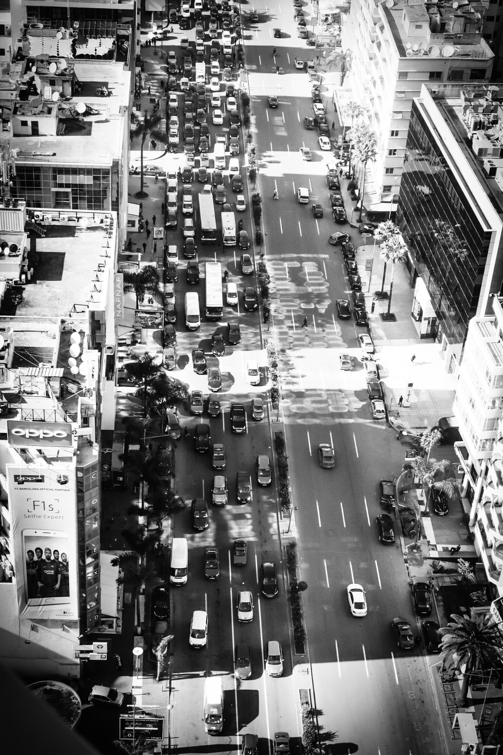 grayscale bird's eye-view photography of city road