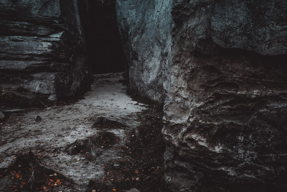 closeup photo of gray rock formations