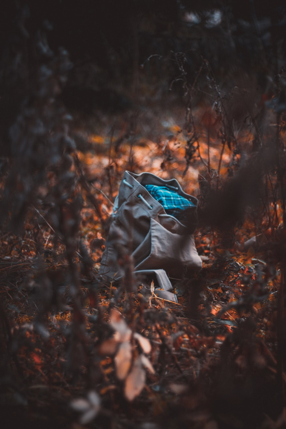 gray bucket bag surrounded by dried plants